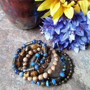 5 strand semi-precious stone memory wire bracelet